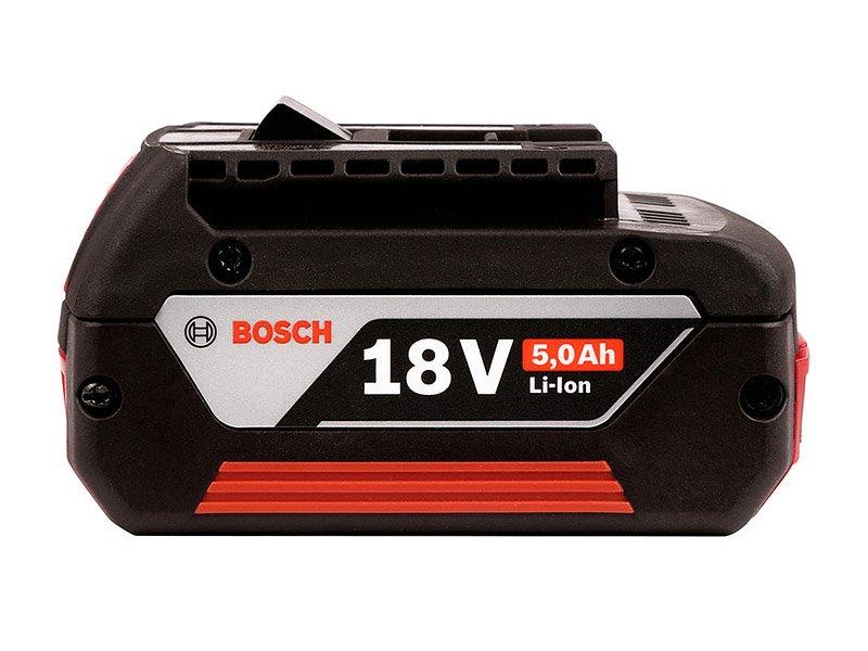 Seitenansicht der Bosch GBA 18V Batterie